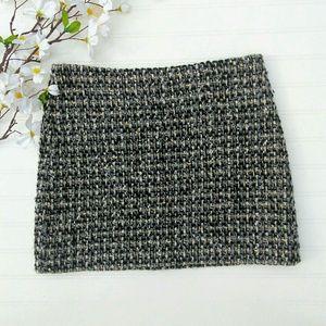 J. Crew wool boucle black/gray/gold sz 4 skirt